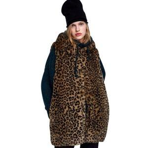 RARE Zara Leopard Print Hooded Faux Fur Vest